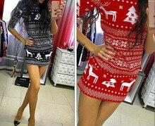 Christmas New Women Autumn Winter Long Sleeve Knit Bodycon Lovely Sweater Mini Dress Knitwear