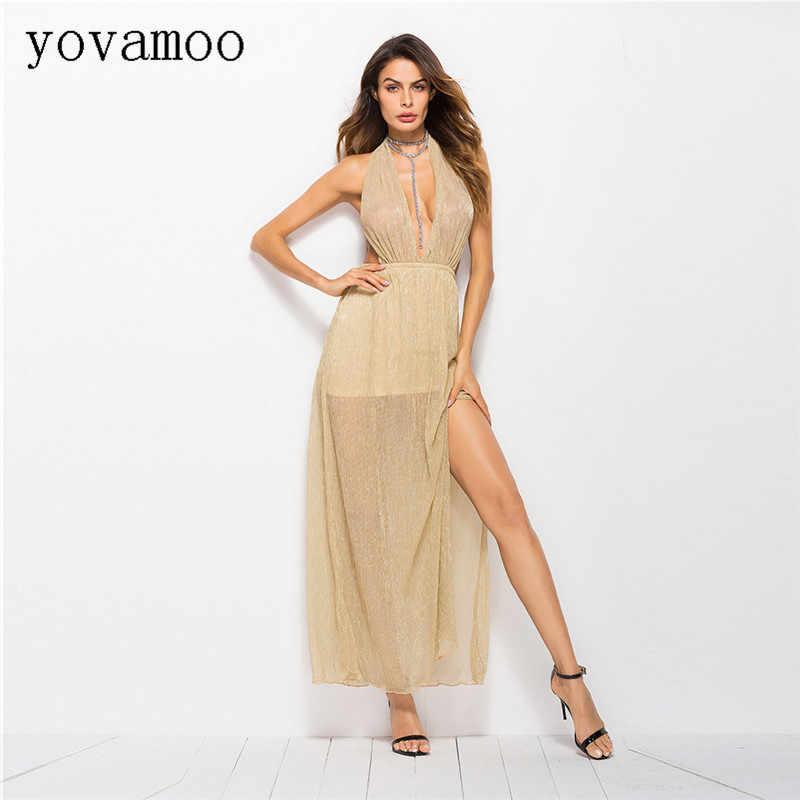 Yovamoo Verão 2018 Sexy Profundo Decote Em V Sem Encosto Halter Dividir Vestido De Cintura Alta Longa Até O Chão Vestidos Mulheres Cor Sólida