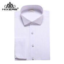 Бренд, белые мужские рубашки-смокинги, Мужская Свадебная белая рубашка с длинным рукавом, Классическая мужская рубашка, все размеры, XS-4XL