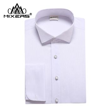 Marka 2018 białe męskie Tuxedo koszule z długim rękawem męska ślubna biała koszula klasyczna dopasowana sukienka koszula męska wszystkie rozmiary XS-4XL tanie i dobre opinie MIX051 Skręcić w dół kołnierz Pojedyncze piersi REGULAR Modalne COTTON Pełna Mixers Formalne Stałe Suknem Shirt Shirt For Men