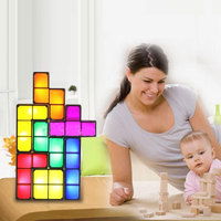 LED Desk Lamp DIY Tetris Puzzle Light Stackable Constructible Block Night Light Retro Game Tower Baby Colorful Brick Toy