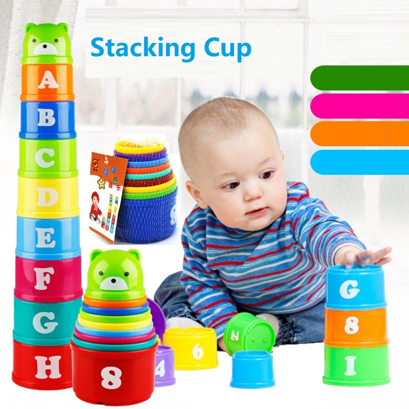 9pcs/set Stacking Cup Toys Tower Figures Letters Number Educational Children Early Intelligence Toy Baby Birthday Christmas Gift