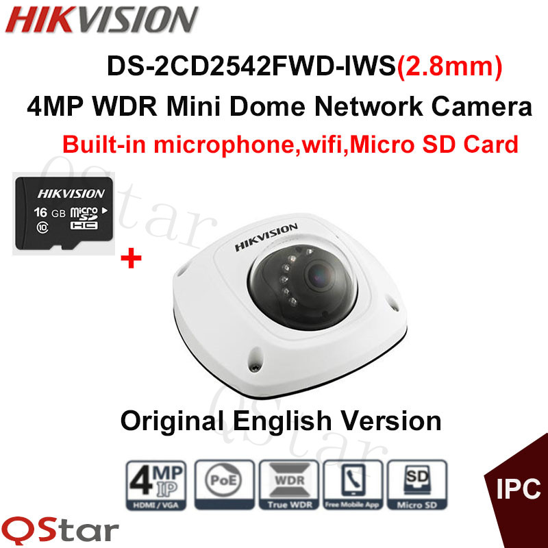 Hikvision Original English CCTV Camera DS-2CD2542FWD-IWS(2.8mm) 4MP Dome IP Camera POE built in microphone WIFI Camera+16G Card hikvision original english cctv camera ds 2cd2142fwd is 4mp fixed dome ip camera poe audio ip67 junction box ds 1280zj dm18