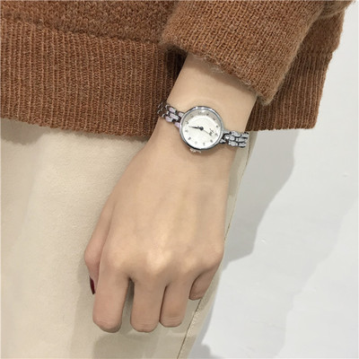 Korean version of the fashion simple trend classic retro casual atmosphere female middle school students watch small women's ins cherry powder test watch women junior high school students korean version of the simple dream trend retro cute soft sister