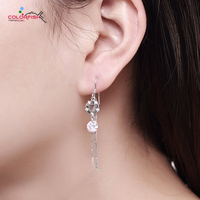 COLORFISH Real 925 Sterling Silver Link Chain Long Tassel Earrings With Sparkling Zircon Simple Fashion Women