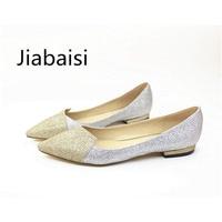 Jiabais Women Flats Pointed Toe Bowknot Zip Dazzling Flats Slip On Flats Shoes Large Size Comform
