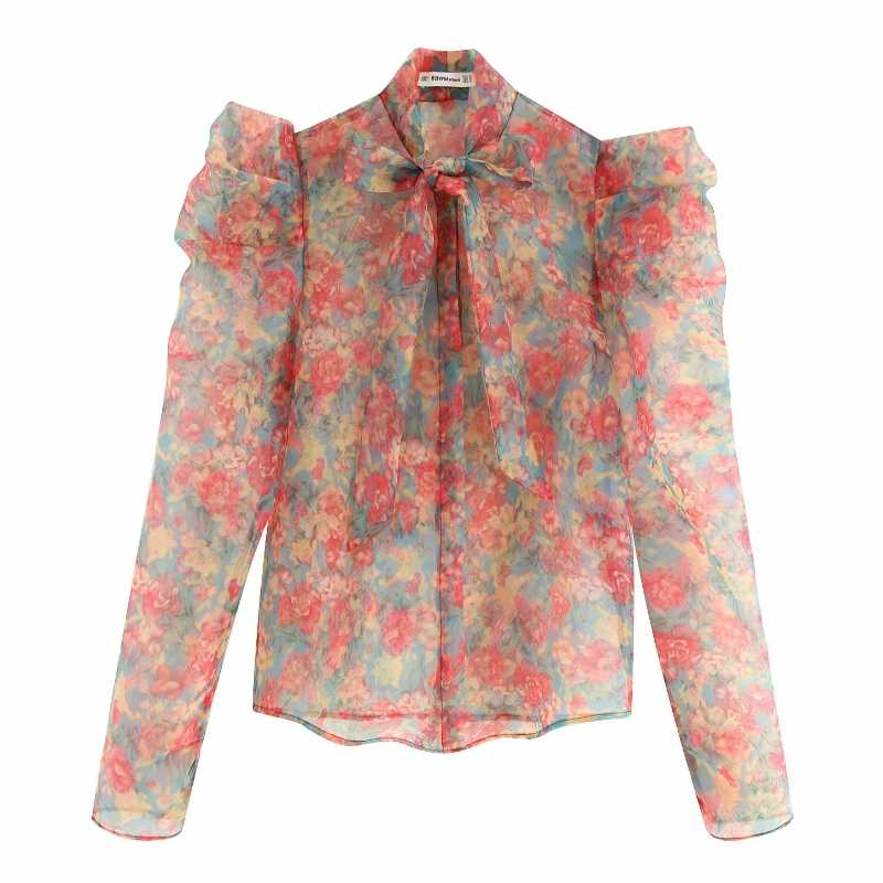 women sweet red flower printing casual organza blouses shirt women long sleeve bow tied smock blusas transparent chemise LS3960