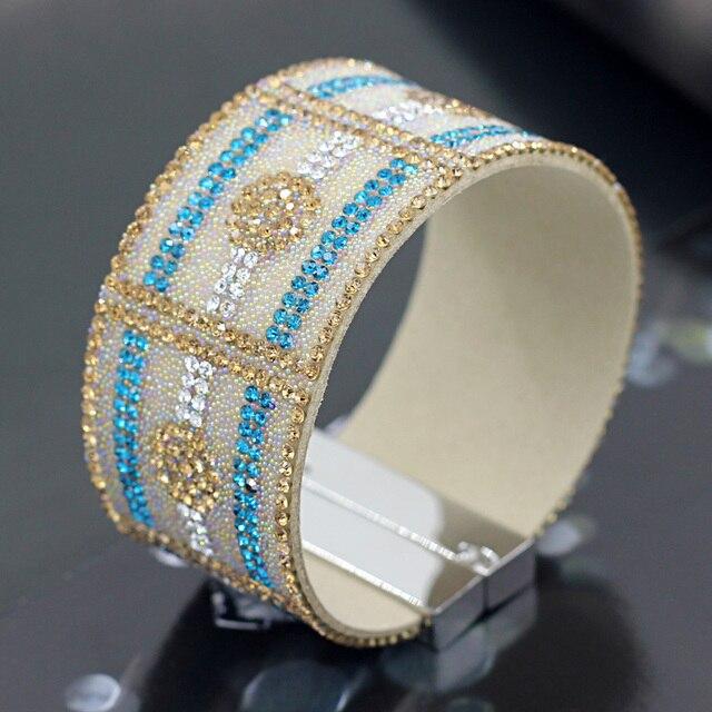 6b83ee8ae589 Connor joyería mujer pulseras brazalete franela con cuentas brillantes  piedras de colores imán hebilla pulsera ancha
