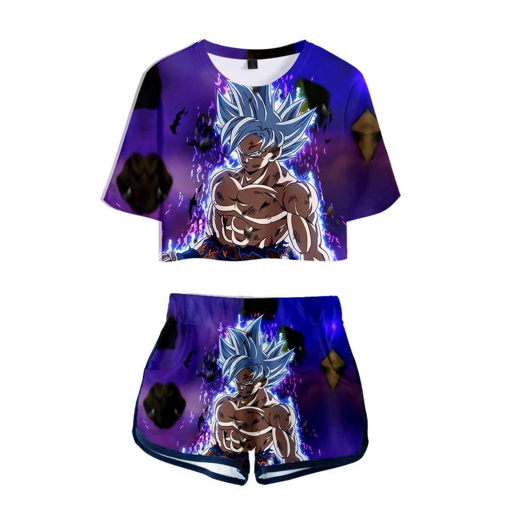 Dragon Ball Super Broly 3D Printed Track Suit Women Two Pieces Sets Short Sleeve Crop Top And Shorts Summer Outfits For Women