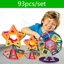 93 pcs Mini DIY Magnétique blocs de construction Variété aimant magnétique tirant des blocs de construction magnétiques assemblés cadeaux pour enfants