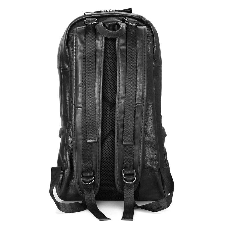 J.M.D Genuine Leather Mens Shoulders Large Leather Backpacks Black Large Capacity Backpack For Adult 7340A