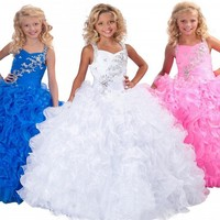 Ball Gowns Pageant Dresses For Girls Glitz First Puffy Beading Crystals Floor Length Communion Dresses For