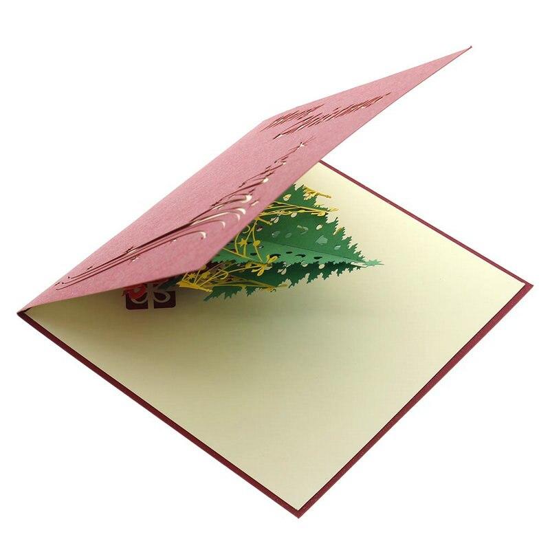 Pop up рождественской елки 3D ручной работы Поздравительные открытки для ребенка друзей Бумага Книги по искусству Вырезка отличный подарок