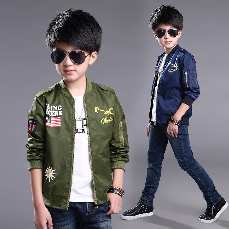 10862cf13da6 2017 Autumn Fashion cartoon Jackets for Boy Bomber Jacket Coat Army Green  Boys Windbreaker Winter Jacket