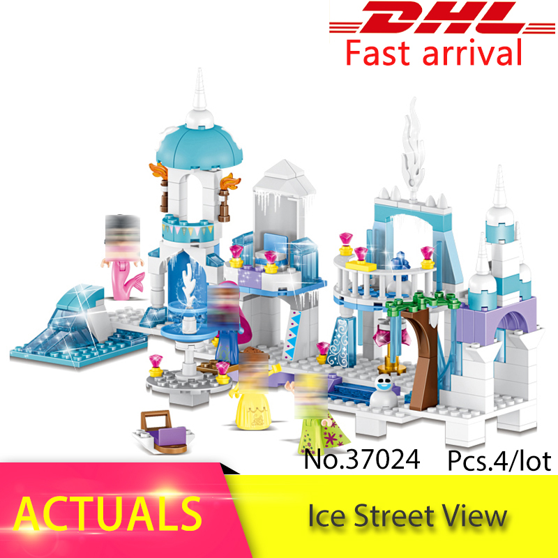 37024 Snow Queen Mermaid Beauty Princess Ice Castle Building Bricks Blocks Sets Toy Compatible with Legoing Princess Girls kazi 608pcs pirates armada flagship building blocks brinquedos caribbean warship sets the black pearl compatible with bricks