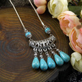Jewelry  Tibetan Silver Plated Statement Vintage Necklaces Snake chainTurquoise necklace & pendants For Woman Hot New