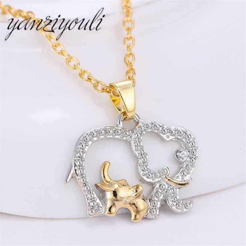 2019 mode mignon femmes Animal rétro personnalité or argent évider éléphant collier pendentifs pour enfants maman cadeau 5082
