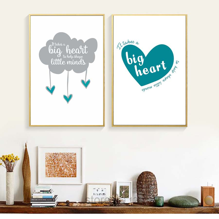 Big Heart Love Nordic Poster Ampprint Letters Canvas Printings Modular Wall Art Simple Modern Paintings Living Room With Free Shipping Worldwide Weposters Com