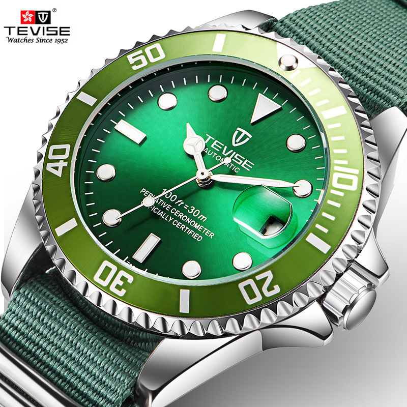 2018 Automantic Mechanical Watch TEVISE Luxury Green Dial Mens Watch Nylon Material Strap Gift Men Watches C025 велосипед stels challenger v 2016