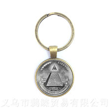 Men Pyramid Free Mason Keychains Eye Of Providence Eye Of Horus Keyring Free And Accepted Masons All seeing Eye Keyring(China)