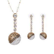 Gold Plated Jewelry Set Long Section Crystal Ball Wedding Jewelry Dress Accessories Necklace Earrings Sets bijoux femme