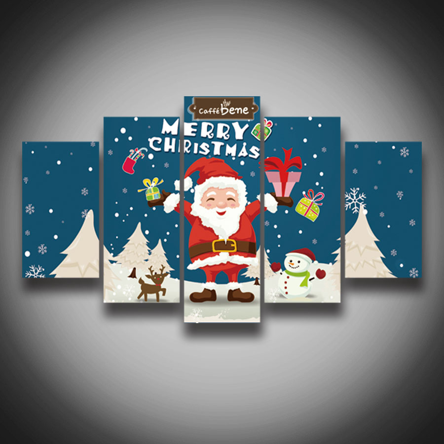 Printed high quality ! Cartoon Christmas gift Santa Claus painting on canvas 5 panels wall decor Canvas art Print posters