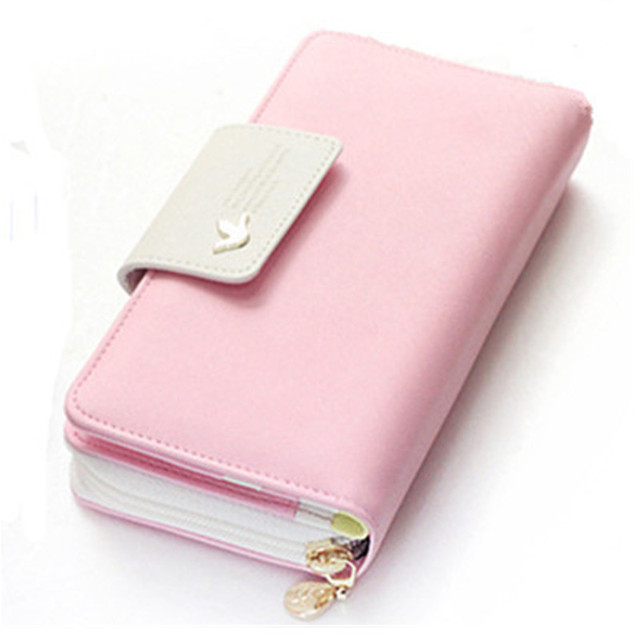 womens purse 2018 fashion pu leather wallets womens money card holder pink female zipper wallet coin - Pink Card Holder
