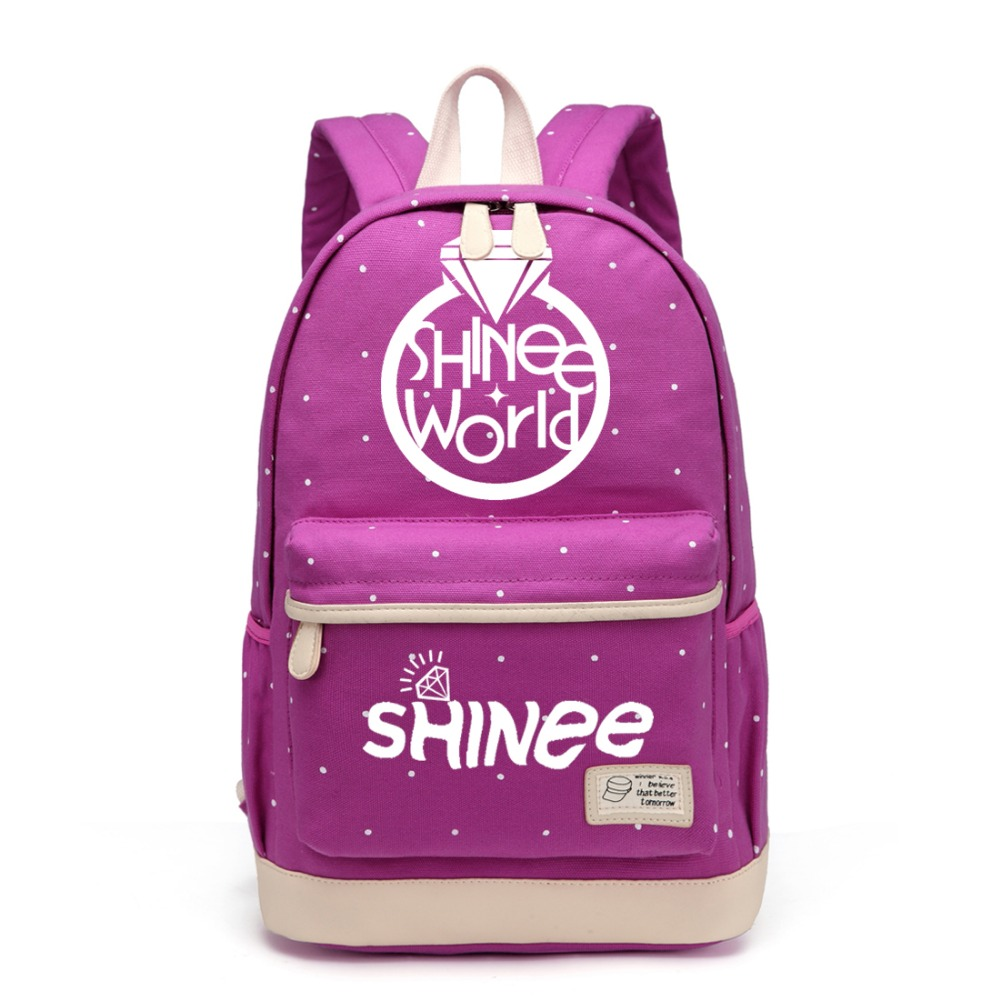 Kids & Baby's Bags Wishot Kpop Shinee Backpack Flowers Shoulder Travel Bag For Teenagers Girls Women Canvas Dot School Bag Modern And Elegant In Fashion