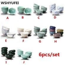 6 комплектов/китайские керамические чашки с рисунком рыб синий и белый кунг-фу чайник маленький фарфоровый чайный чаша чайный набор аксессуары для напитков