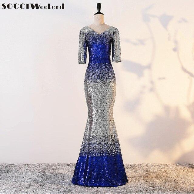 SOCCI Wochenende Elegante Pailletten Meerjungfrau Lange Abendkleider ...