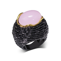 Large Pink Stone Big Rings Exaggerated Vintage Style Jewellery Anillos Black Luxury Women S Jewelry For