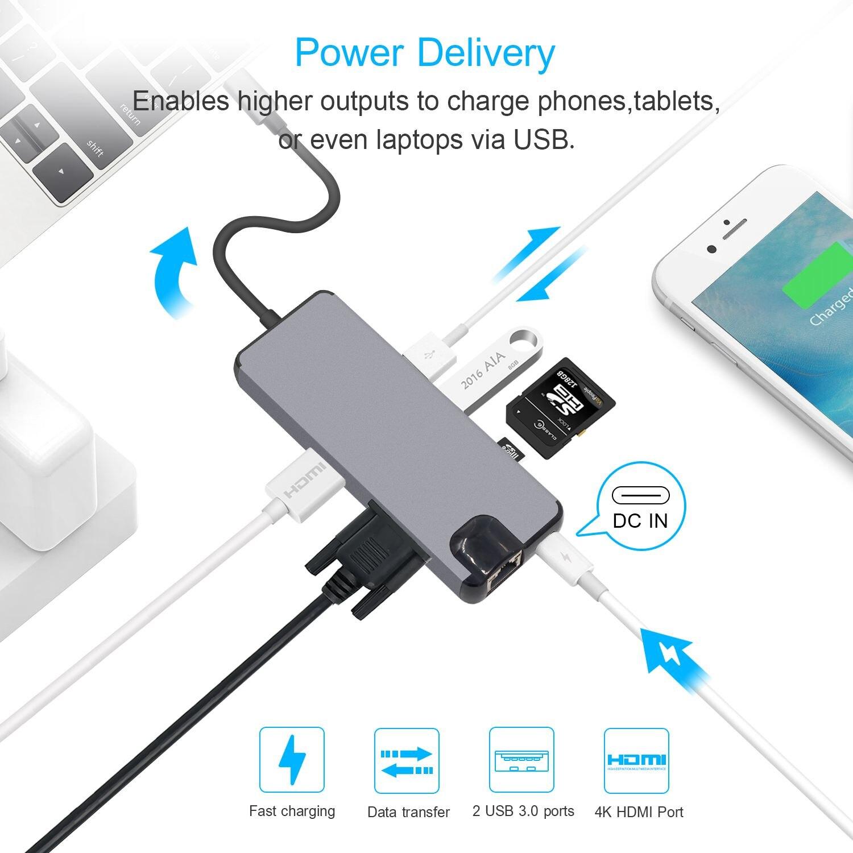 USB C HDMI VGA Lan Ethernet RJ45 adaptador para Macbook Pro lector de tarjetas tipo C 2 USB 3,0 + puerto de carga tipo C - 6