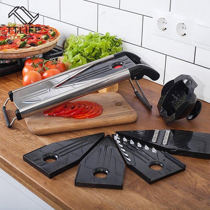 TTLIFE Professionnel Multifonctionnel V-Trancheuse Mandoline Trancheuse Hachoir Fruits et Légumes Cutter avec 5 Lames cuisine Outil