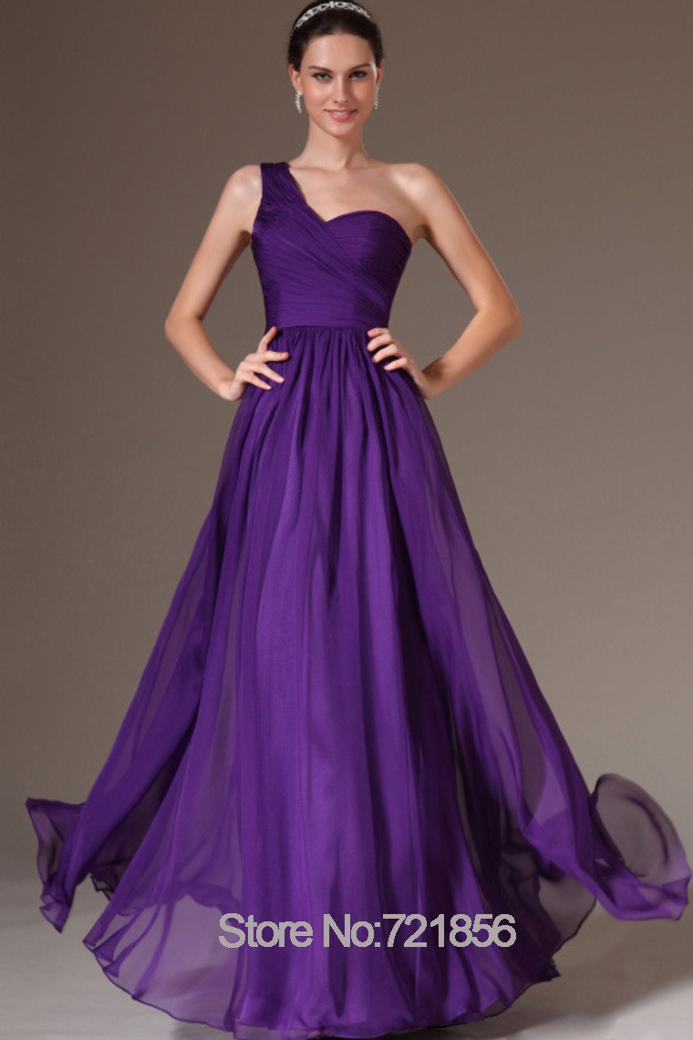 Purple Bridesmaid Dresses Chiffon A line One Shoulder Scoop Summer ...