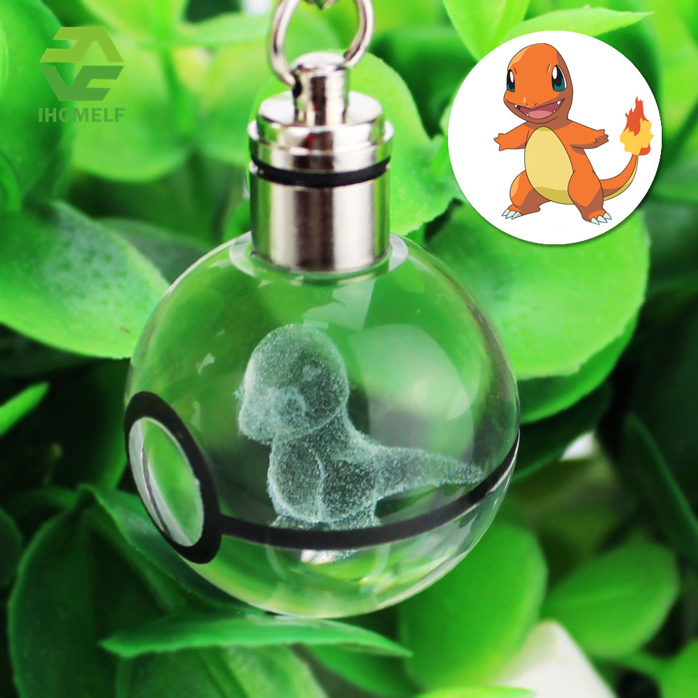2017 Hot Sell Charmander Eevee 3D Engraving Glass Ball Lamp Pokemon Go Novelty Light LED Keychain Colorful Pendant Child's Gift