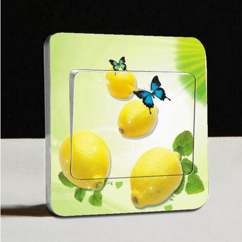 1 Pcs Fresh Orange Fruit Switch Sticker Light Switch Stickers Removable Wall Sticker For Living Room Border Tiles For Bathrooms