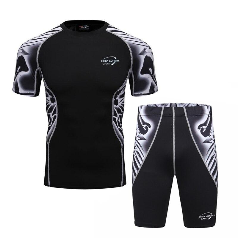 2017 Codylundin Mens Tracksuit Men's Sets For Biking Short Sleeve Skulls Shirts+3d Printing Tights Pants Size M-2XL