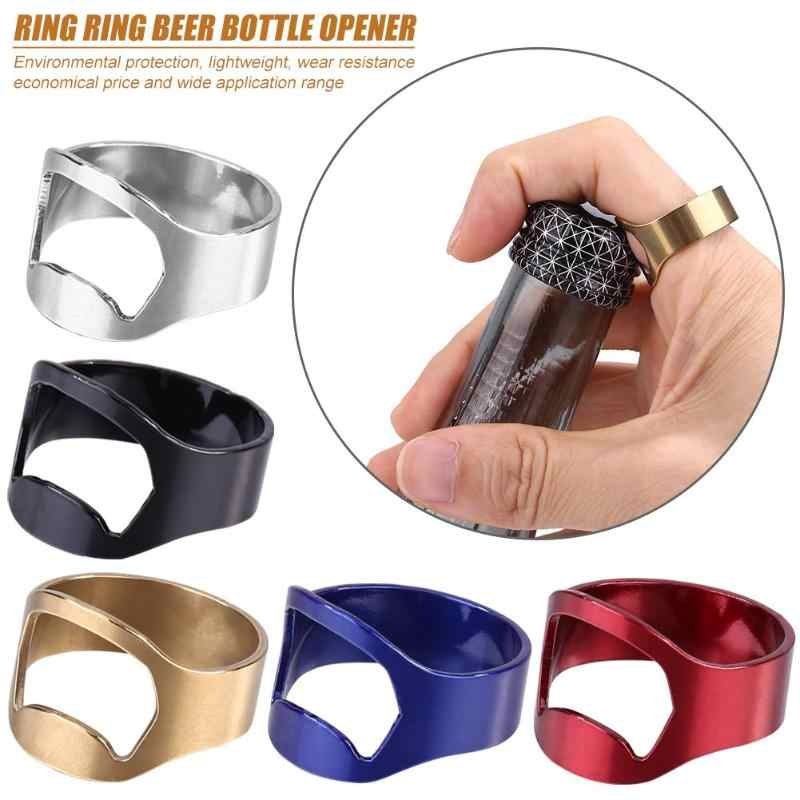 1pc Beer Bottle Opener Stainless Steel Finger Ring Shape Beer Bottle Opening Tools Multi-function Kitchen Accessaries