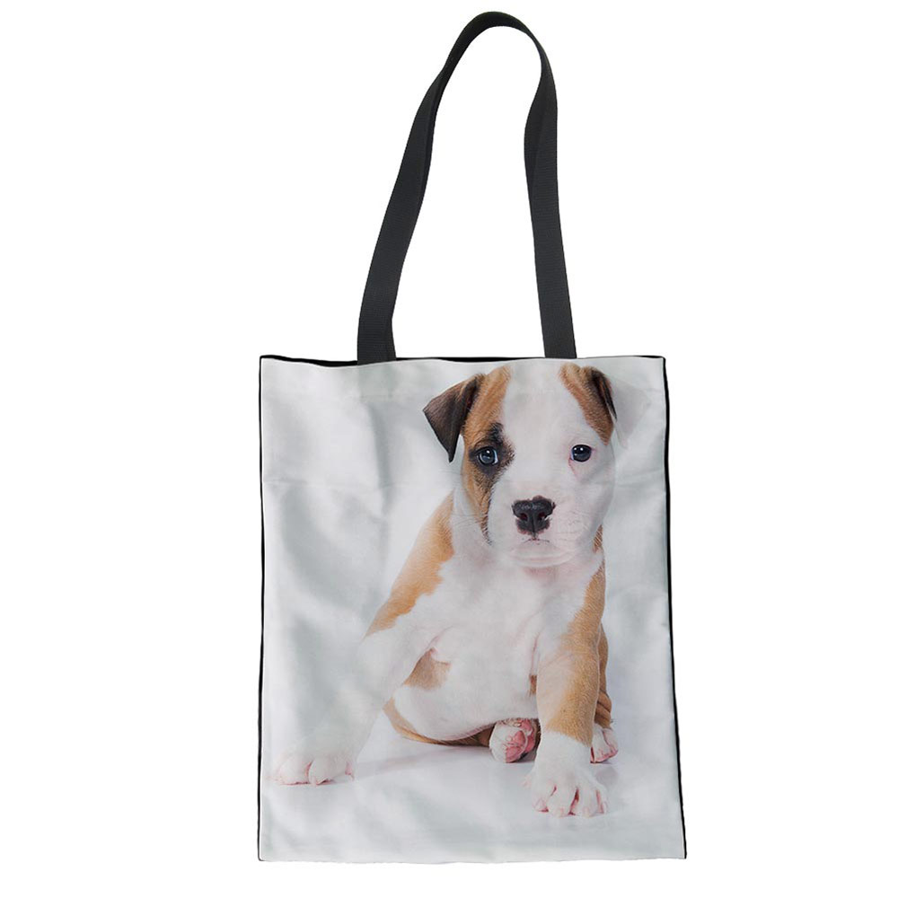 Long Handles Staffordshire Bull Terrier Cotton Shopping Bag Tote Short