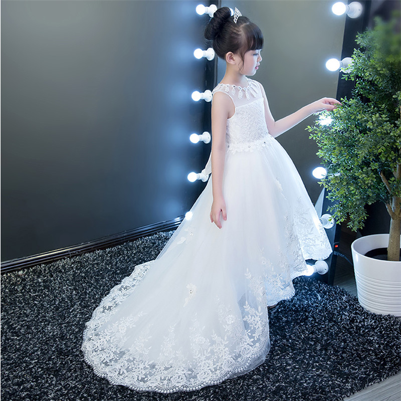 2017 New Children Girls Elegant White Color Princess Lace Dress Wedding Birthday Party Long Tail Dress For Kids Costume Dresses new high quality children girls blue princess lace party dress wedding birthday dress with layers mesh tail kids costume dress