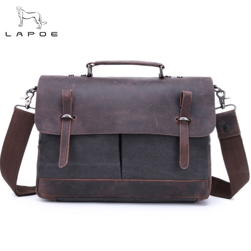 LAPOE Vintage Leather&Canvas Men's Briefcase Genuine Leather Messenger Bag Men Shoulder bag Crossbody Bag Tote Business Bag vintage crossbody bag military canvas shoulder bags men messenger bag men casual handbag tote business briefcase for computer