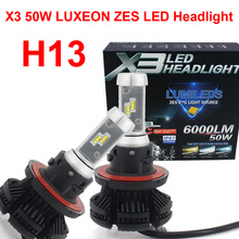 1 Set H13 9008 50W 6000LM X3 LED Headlight LUMILED 2nd ZES Chips 20SMD Fanless All-in-one DIY 3K 6.5K 8K Film H/L Bulbs Lamps