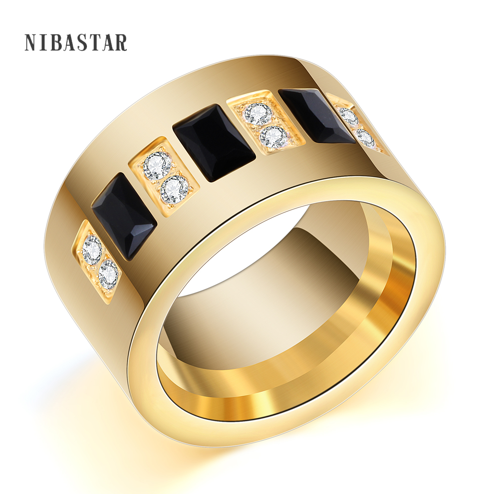 Fashion Gold Color 316L Stainless Steel Wedding Ring With Black and White Cubic Zirconia Ring For Women