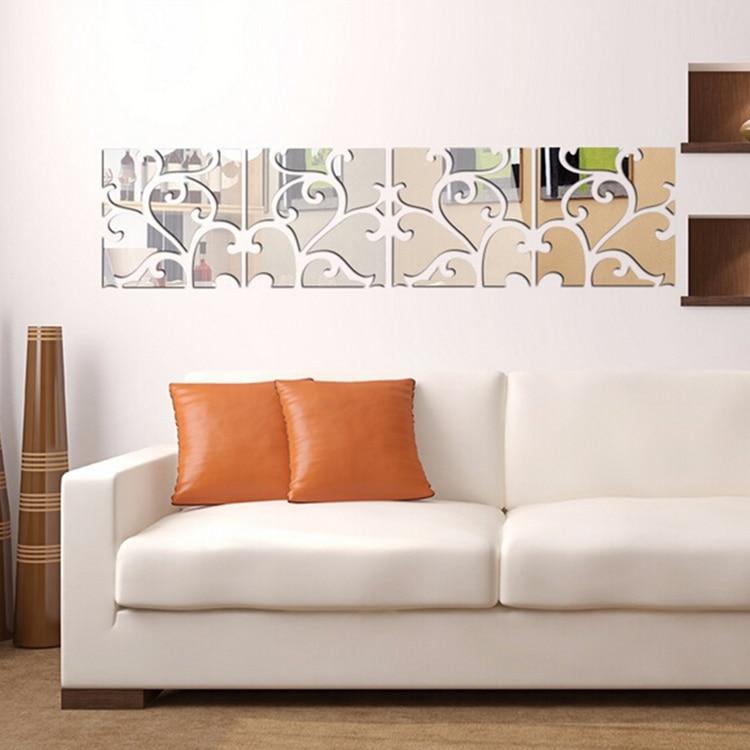 unidsset d espejo pegatinas de pared de acrlico grande mural sticker home decor sala de estar espejo adhesivo decorativo