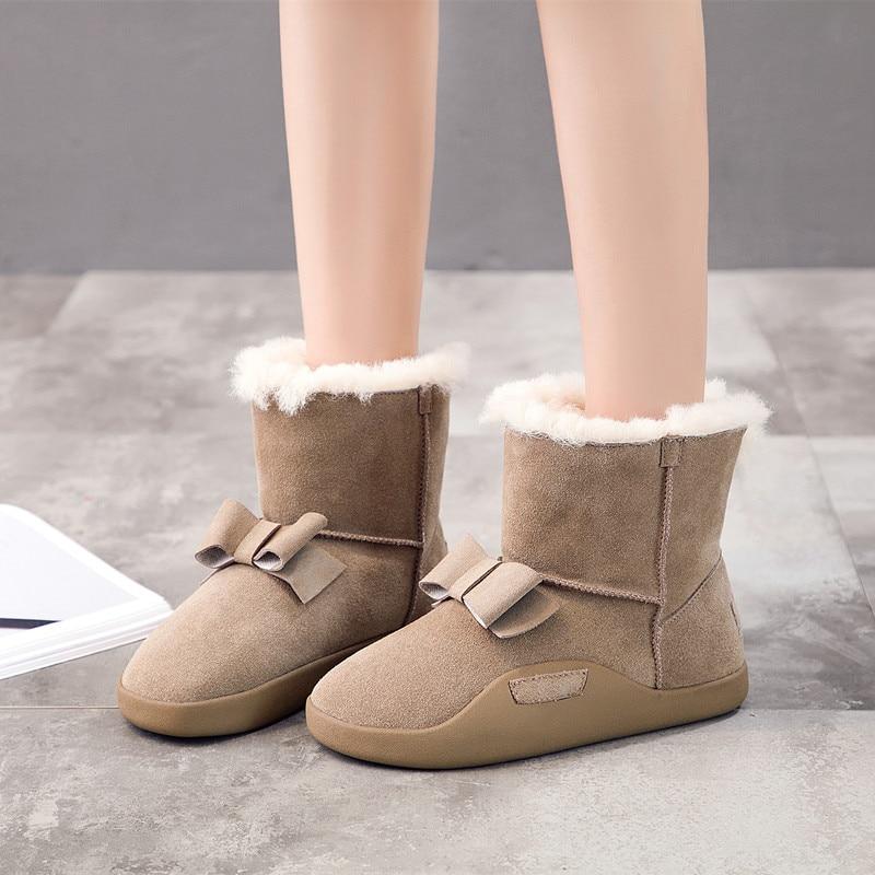 купить Hemmyi 2017 New High Quality Band Ankle Boots for Women Snow Boots Fashion Bowknot Genuine Leather Wool Women's Winter Shoes недорого