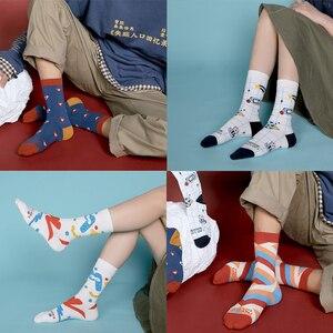 Image 4 - 5 זוגות\סט אופנה נשים/גברים גרבי Harajuku צבעוני כותנה רגיל האיחוד האירופי גודל 36 44