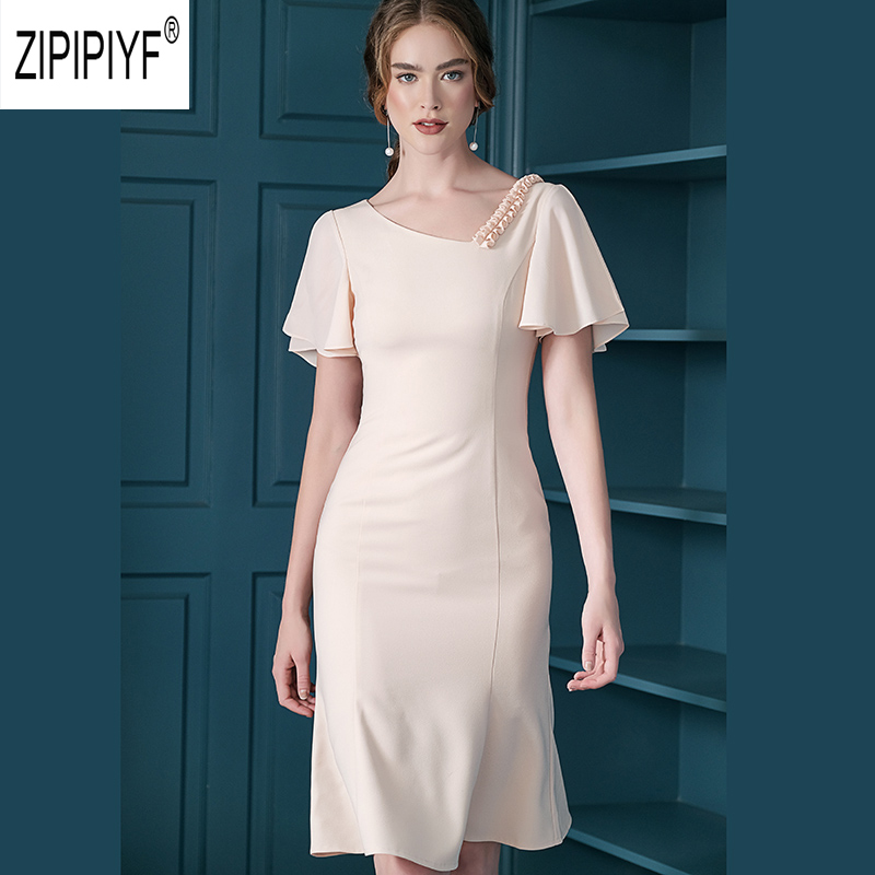 High Quality Fashion Women Dresses Cline Neck Ruffle Short Sleeve Solid Color Chiffon Dress Bodycon Unique