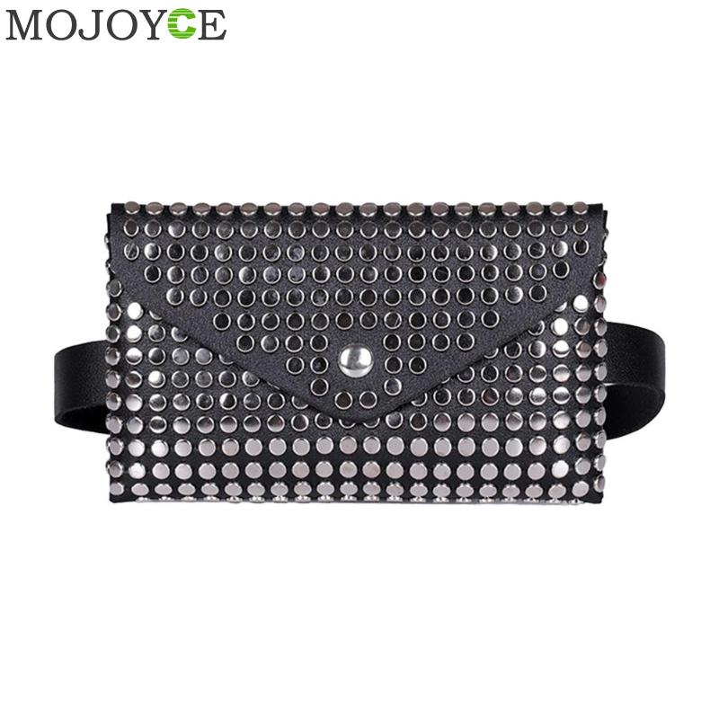 Fashion Women Outdoor Rivets Hasp Solid Color Messenger Bag Chest Bag Waist Bag Rivet Envelope Lady Small Pockets