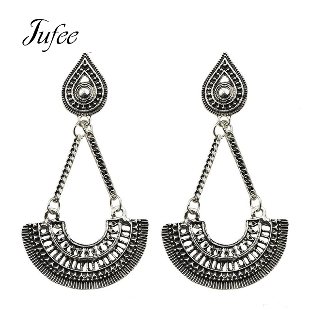 Jufee Indian Jewelry Chandeliers Earrings Antique Silver Color Big Geometric Fan Shaped Party Hanging