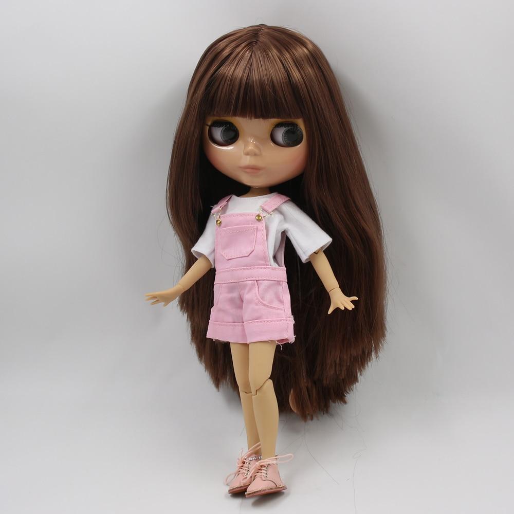 ICY blyth ตุ๊กตา tan ผิว joint body glossy สีน้ำตาลตรงผม DIY sd ของขวัญของเล่น-ใน ตุ๊กตา จาก ของเล่นและงานอดิเรก บน   3